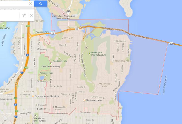 The zipcode of 98112 displayed on Google Maps