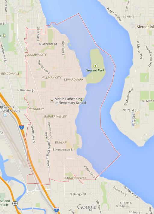 The zipcode of 98118 displayed on Google Maps