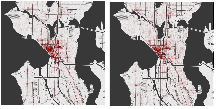 The left map displays crimes that have a higher urgency level than initially described and the left map displays a lower urgency level that initially described.