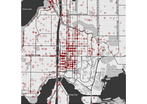 Mapping of Car Prowls in the University District of Seattle by UW